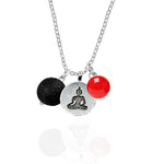 Meditating Buddha - Yoga Practitioner Necklace with Lava Stone and Red Jade