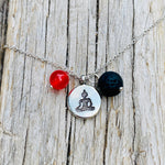 Meditating Yogi Necklace with Lava Stone and Red Jade for Aroma Therapy and Chi