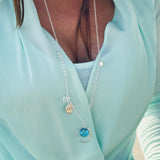 Sterling Silver Zen Necklace with Aquamarine Swarovski Crystal