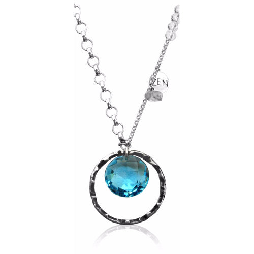 Sterling Silver Zen Necklace with Aquamarine Swarowski Crystal 35 Inch.