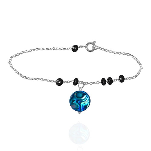 ero Waste Anklet with up-recycled SCUBA parts and Abalone pendant from the Pacific Ocean.  Eco-conscious jewelry for the ocean lovers, surfers, scuba divers.
