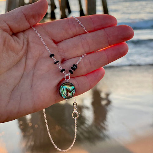 Zero Waste Abalone Necklace with Upcycled Scuba Gear O-rings