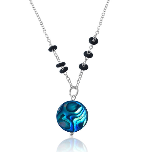 Zero Waste Necklace with up-recycled SCUBA parts and Abalone pendant from the Pacific Ocean.  Eco-conscious jewelry for the ocean lovers, surfers, scuba divers.