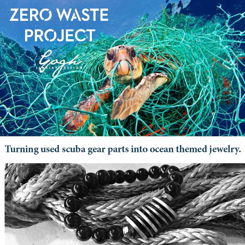 Zero Waste Bracelet with up-recycled SCUBA parts and Onyx