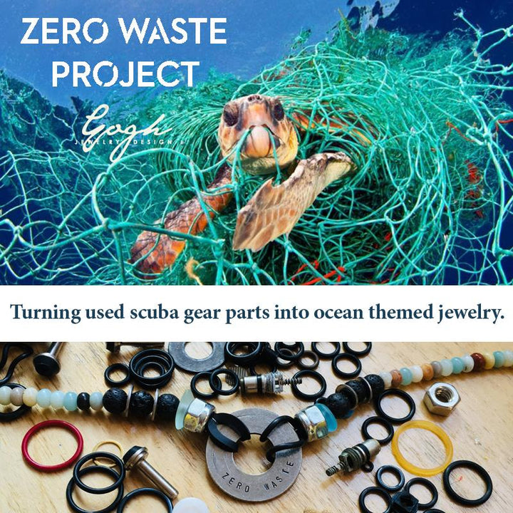 MIss Scuba Zero Waste Sea Glass Bracelet with up-recycled SCUBA parts