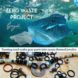 Zero Waste Necklace with up-recycled SCUBA parts, Amazonite, Sea Glass and Lava Stone