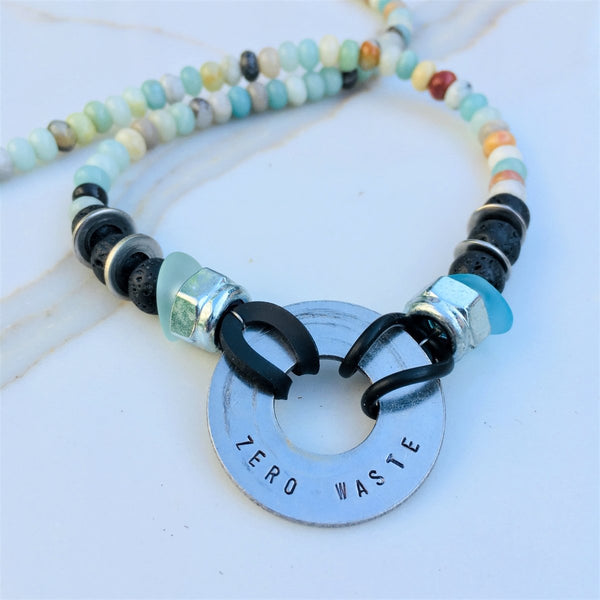 Zero Waste Necklace with up-recycled SCUBA parts, Amazonite and Lava Stone
