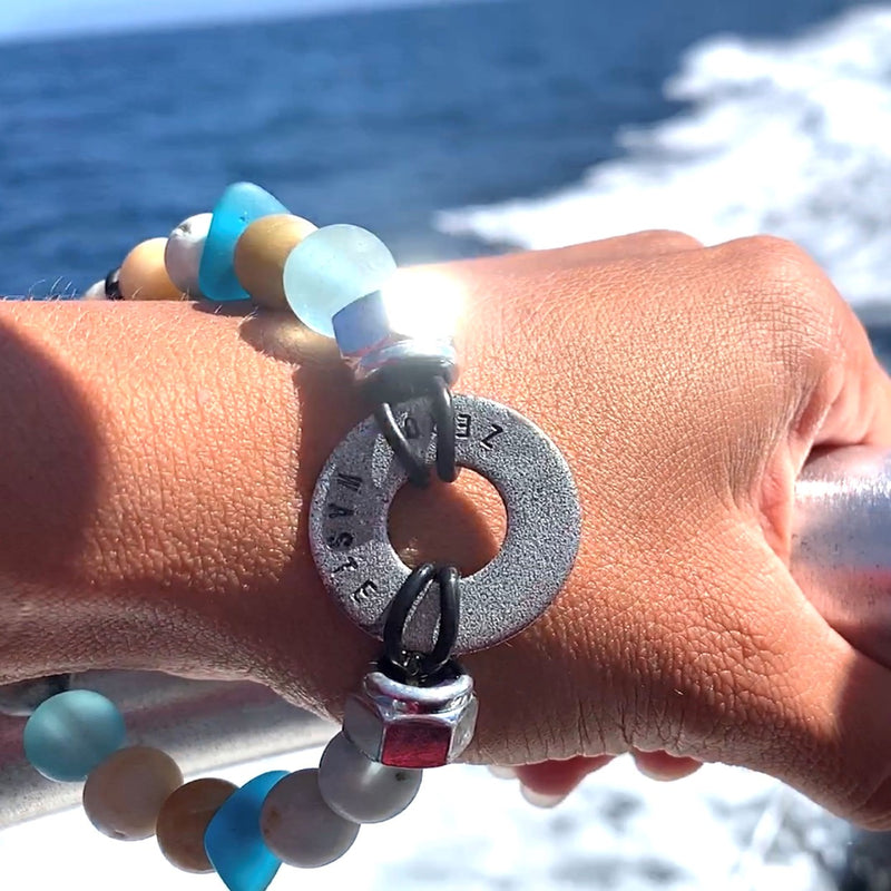 Zero Waste Bracelet with up-recycled SCUBA parts and Sea Glass & Amazonite