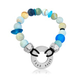 Zero Waste Bracelet with up-recycled SCUBA parts, Sea Glass and Amazonite