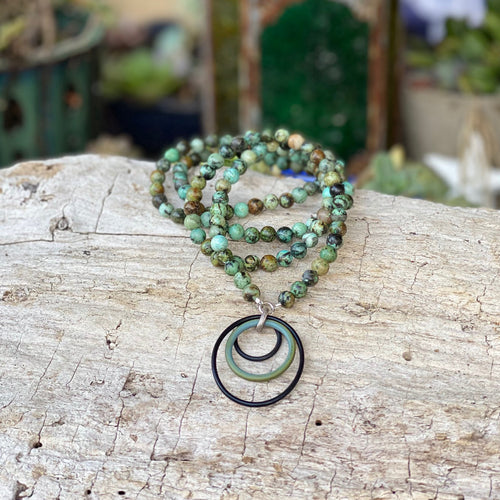 Zero Waste Necklace with up-recycled SCUBA parts and African Turquoise