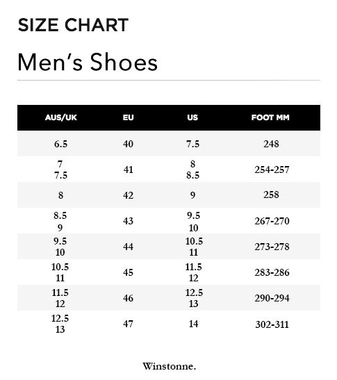 mens shoes size chart