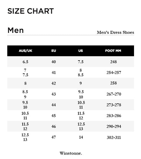 Men's Dress Shoes Size Chart