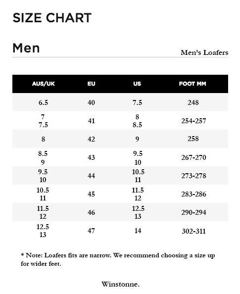 Men's Loafers Size Chart