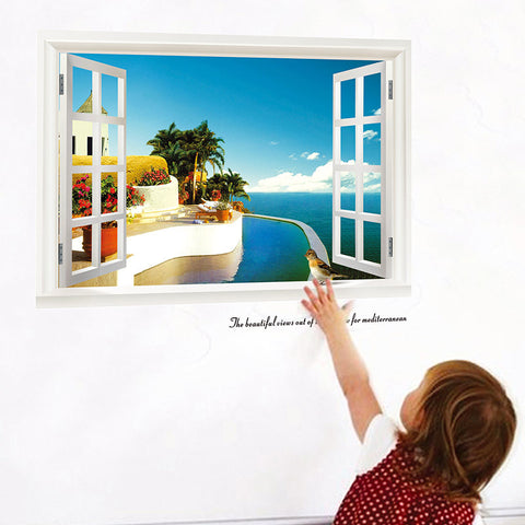 3d windows wall stickers sea beach hill island decals landscape scenery mural art living room home decoration diy posters 1430.