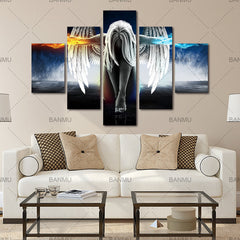5 Pieces Canvas Print Angel Girls Painting for Living Room Wall Art  - Free Shipping