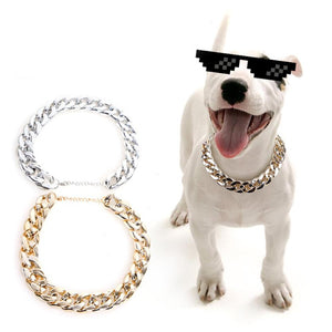 Gold silver thug life dog choke chain link necklace collar