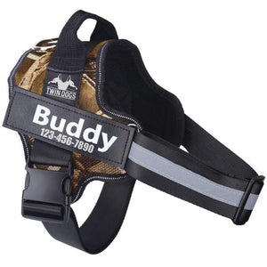 No Pull Easy Walk Personalized Service Tactical Small Medium Large Dog Puppy Harness upto 10 20 30 40 50 lbs Custom Cute Dog Har - Military Camo Brown