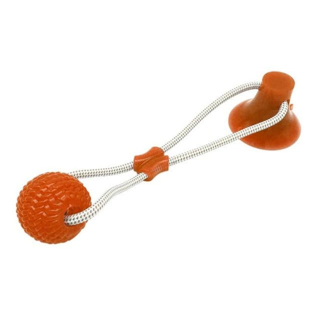 Pet suction cup dog tug of war toy that sticks to floor