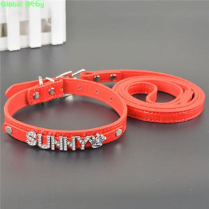 Personalized custom leather adjustable dog collar leash