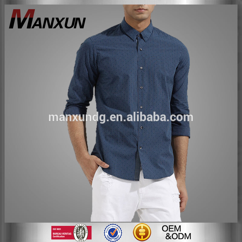 Men Casual Long Sleeve Shirt- High Quality Dark Blue Stripe Hidden Button Down Casual Long Sleeve Shirt  -  actovis