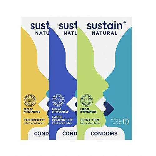 Sustain Variety Pack Condoms, (Ultra Thin, Tailored Fit and Comfort Fit)