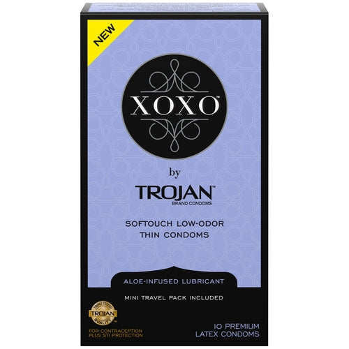 Trojan Xoxo Aloe-Infused Premium Latex Thin Condoms 10 pack