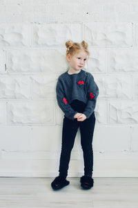 embroidered rose cropped knit sweater kids