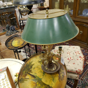 Warren Kessler Green Metal Shade on Brass Lamp