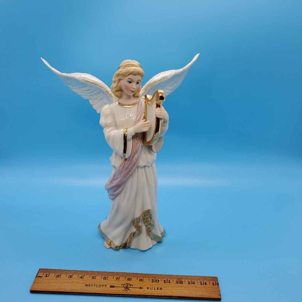 Angels' Serenade:Angel W/ Harp Lenox Collection-Porcelain
