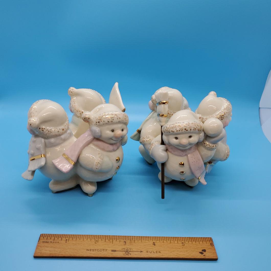 Vintage Lenox Snowman Candle holder set