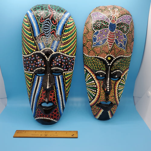 Pair of Hand Painted Wood Masks