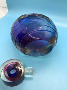 Blue Striped Crystal Perfume Bottle
