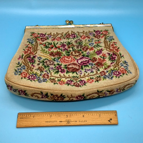 Vintage Floral Needle Point Cream Clutch