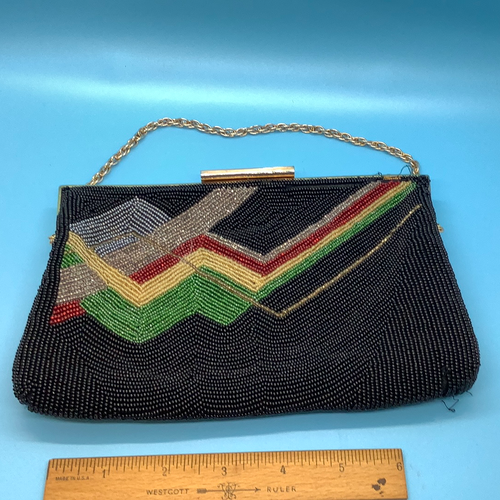 Vintage Black/Red/Gold/Green- Beaded Clutch/Purse