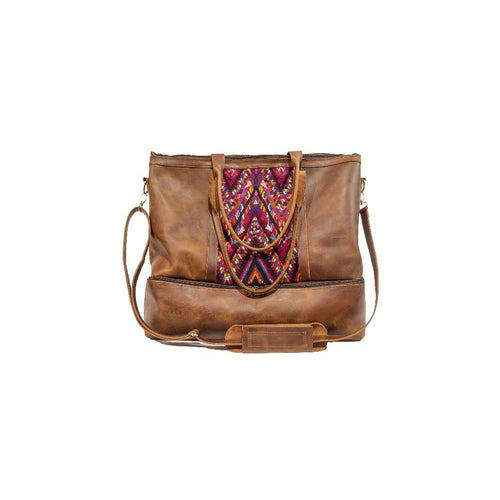 Brown Leather Travel Bag with brocade design