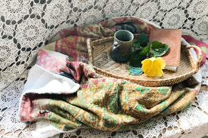 Tearose Patchwork Sherpa Kantha Throw