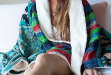 Cerulean Silky Sherpa Kantha Throw