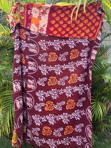 Red Earth Kantha Quilt