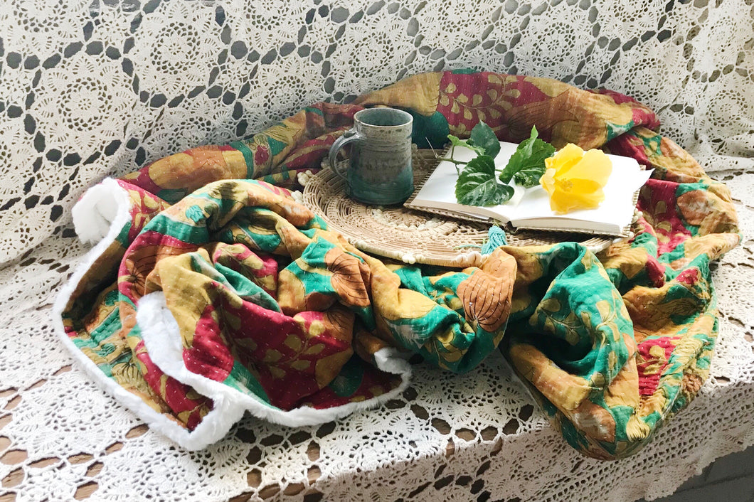 Emerald Bellflower Sherpa Kantha Throw