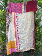 Pink and Gilded Stripe Kantha Quilt