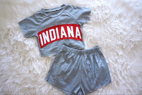 Grey Ribbed Short Set