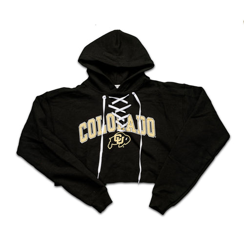 Cropped Hockey Lace up Hoodie