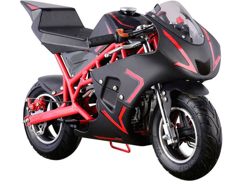 MotoTec MT-GP-Cali-Red Cali Gas Pocket Bike 40cc Red - FunRidingToys.com