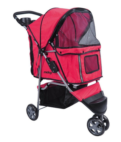 MDOG2 3-Wheel Front & Rear Entry MK0015A Pet Stroller (Red) - FunRidingToys.com