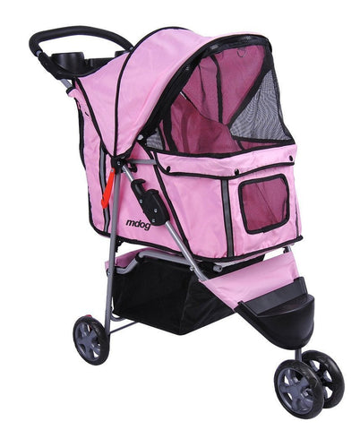 MDOG2 3-Wheel Front & Rear Entry MK0015A Pet Stroller (Pink) - FunRidingToys.com