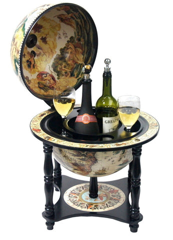 "Merske mk33006w-b Turin Italian Style 13"" Diameter Tabletop Bar Globe with 4 Legs - White"
