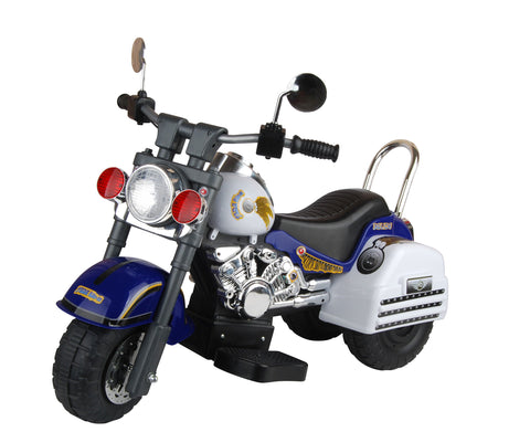 Harley Style 6V Battery Operated Kids Motorcycle (Blue & White) - FunRidingToys.com