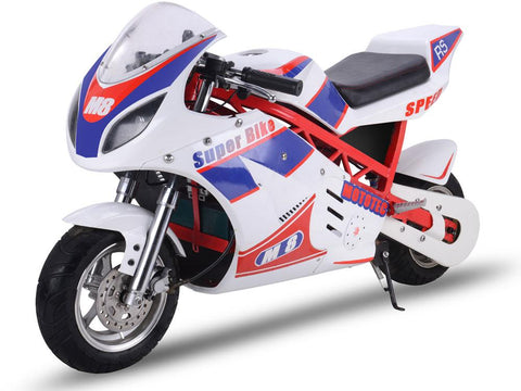 MotoTec MT-EP-Super-White 48v 1000w Electric Superbike White