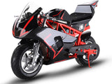 MotoTec MT-Elec-GP-Red Electric Pocket Bike GP 36v 500w Red