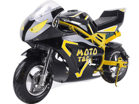 MotoTec MT-Elec-GT-Yellow Electric Pocket Bike GT 36v 500w Yellow - FunRidingToys.com